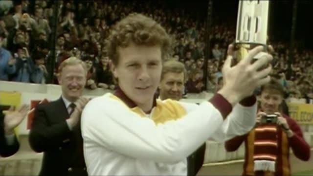 bradford city stadium fire: 30th anniversary ceremony; file / 11.5.1985 bradford: valley parade; ext gv crowd celebrating their team winning the 3rd... - commentator stock videos & royalty-free footage