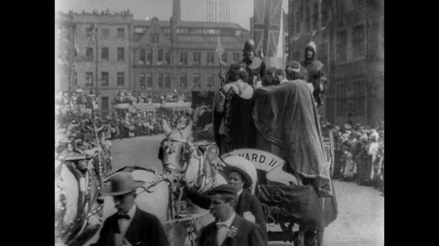 stockvideo's en b-roll-footage met bradford coronation procession, 1902 - yorkshire