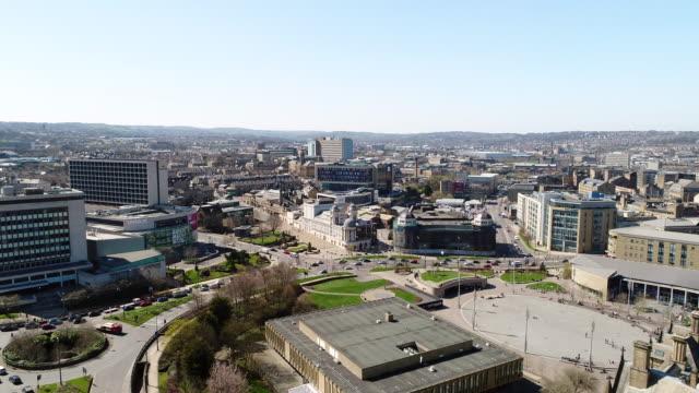 Bradford Skyline Aerial View Pan Left to Right Centenary Square
