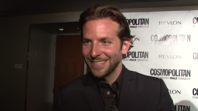 Bradley Cooper about being honored tonight what kind of chances he's taken in his career such as doing a gay love scene and a Broadway play how he is...