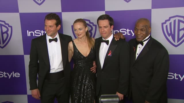vídeos y material grabado en eventos de stock de bradley cooper heather graham ed helms mike tyson at the warner bros and instyle golden globe afterparty at beverly hills ca - warner bros