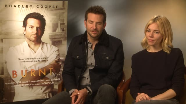 interview bradley cooper sienna miller on chef's being diva gordon ramsay marcus wareing at 'burnt' interviews on october 29 2015 in london england - gordon ramsay stock videos and b-roll footage