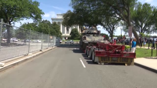 """bradley fighting vehicle is seen ahead of the """"salute to america"""" fourth of july event with us president donald trump at the lincoln memorial on the... - 2019 stock videos & royalty-free footage"""