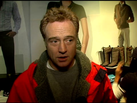 bradley whitford on thanking wireimage for the help with their charity 'clothes off our backs,' on the film he is in, on his favorite part of... - bradley whitford stock videos & royalty-free footage