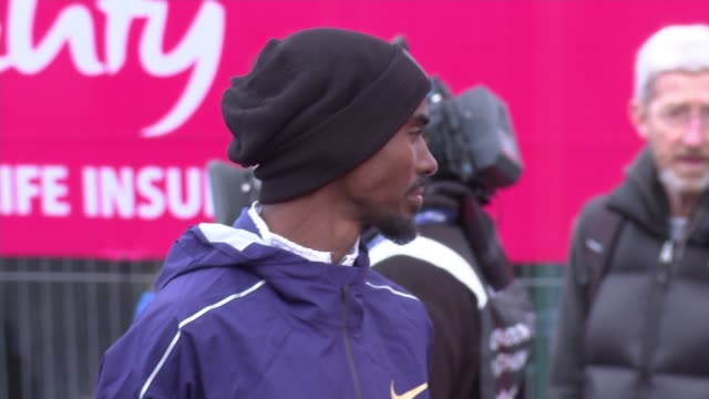 bradley wiggins and team sky accused of crossing ethical line various of sir mo farah along at 'vitality big half' half marathon race - race distance stock videos & royalty-free footage