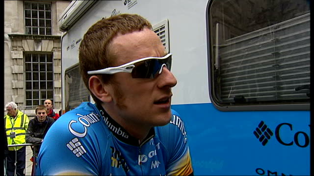 bradley wiggins at 2008 tour of britain race wiggins interview sot - tour of britain stock videos & royalty-free footage