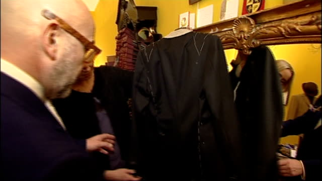 bradley wiggins becomes style icon mark powell chatting to reporter sot close shot shirt and tie on mannequin close shot buttons on jacket close shot... - shirt and tie stock videos & royalty-free footage