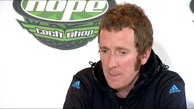 bradley wiggins plans to compete in tour of britain england int bradley wiggins press conference sot - tour of britain stock videos & royalty-free footage