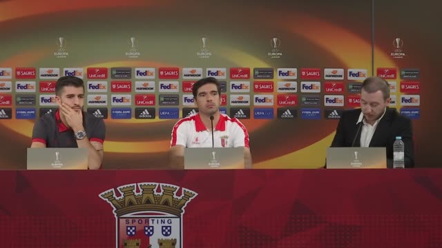 Braga's head coach Abel Ferreira and forward Paulinho attend a press conference on the eve of their UEFA Europa League Group C football match against...