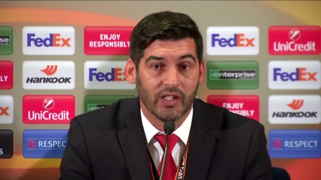 Braga's head coach Paulo Fonseca speaks during a press conference following the UEFA Europa League round of 16 first leg match between Fenerbahce and...