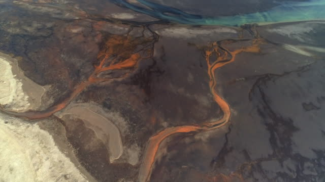 braided river channels seen from a drone perspective, iceland - abstract stock videos & royalty-free footage