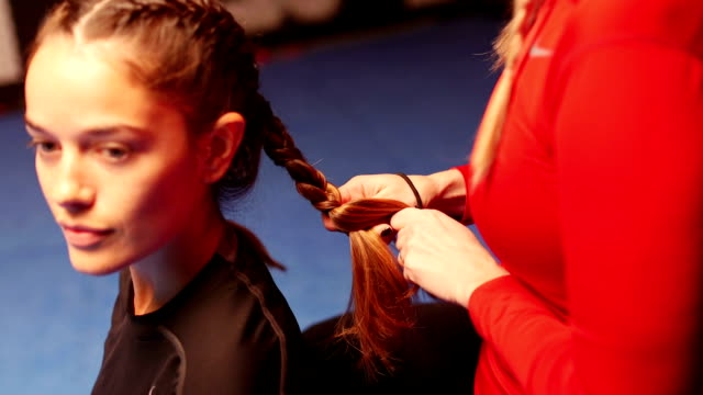 braiding hair before training - braided hair stock videos & royalty-free footage