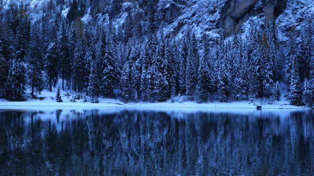 braies lake, mountain range dolomites, italy, europe - dolomites stock videos & royalty-free footage