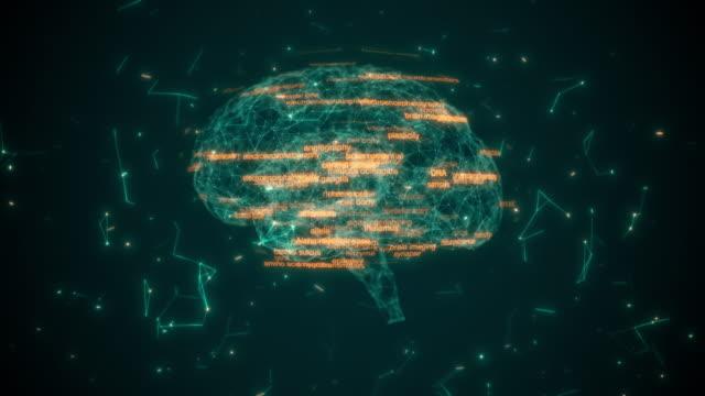 ニューロンと受容体を持つ脳モデル - 脳幹点の映像素材/bロール