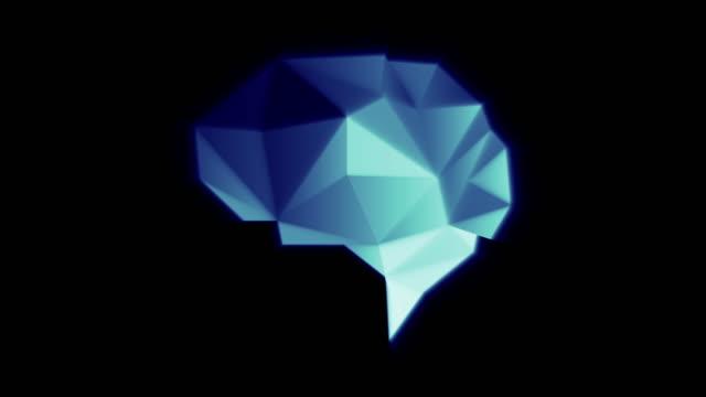 vídeos de stock, filmes e b-roll de cérebro poli da cor azul - rombo
