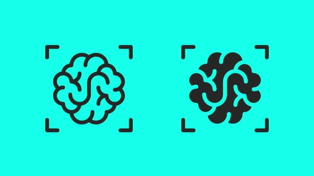 brain scan icons - vector animate - contorno forma video stock e b–roll