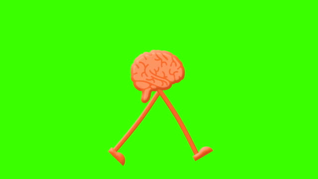 ciclo di camminata cerebrale su uno sfondo di schermo verde mock-up - biomedical animation video stock e b–roll