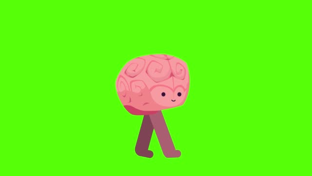 brain walking cycle on a mock-up green screen background - perfection stock videos & royalty-free footage