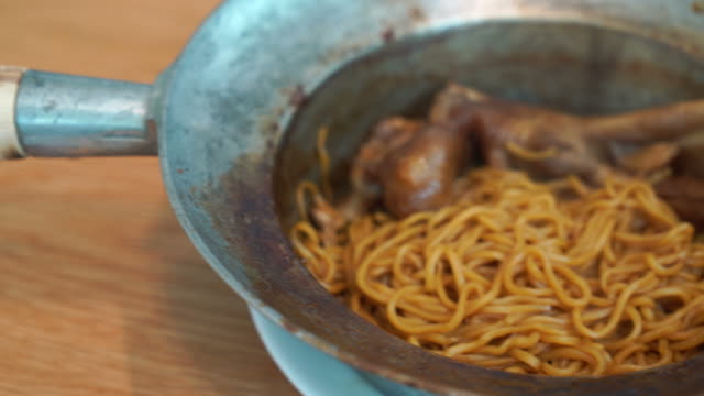 braised goose leg with noodles - asian food - braised stock videos and b-roll footage