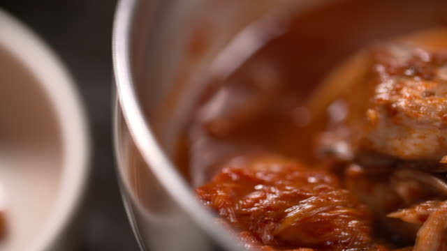 braised mackerel with kimchi in the bowl (korean food) - braised stock videos and b-roll footage