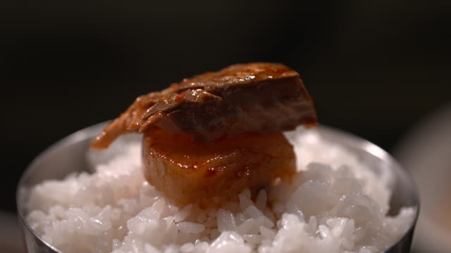 braised mackerel with kimchi on rice - braised stock videos and b-roll footage
