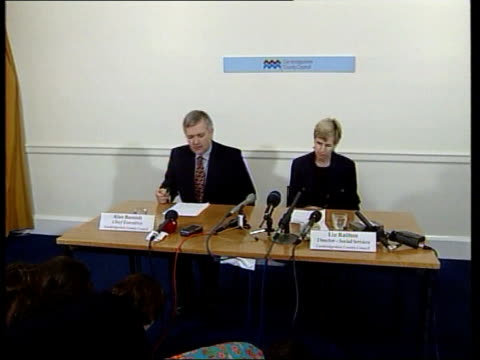 Custody ENGLAND Cambridgeshire Int Representatives of Cambridge Social Services sit at press conference Liz Railton press conference SOT Mrs Justice...