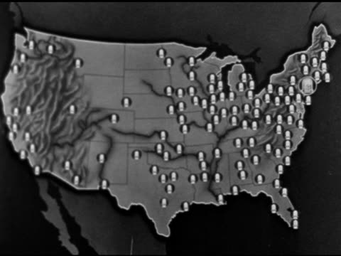 stockvideo's en b-roll-footage met branch offices highlighted on us map. - reportage afbeelding