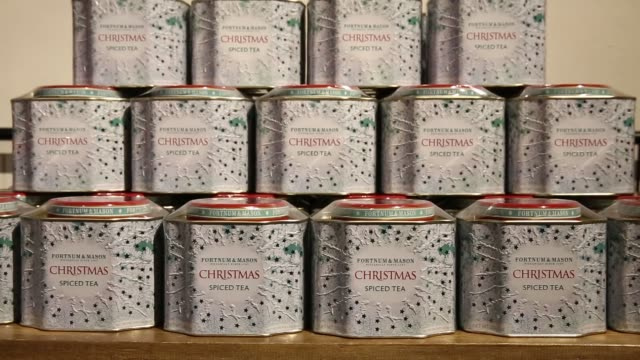 branded fortnum and mason hampers inside a pop up store operated by fortnum mason plc during a seasonal christmas event at somerset house in london... - season stock videos & royalty-free footage