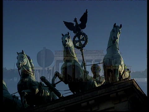 Brandenburg Gate Berlin seen from different angles and showing different details with dissolves between shots