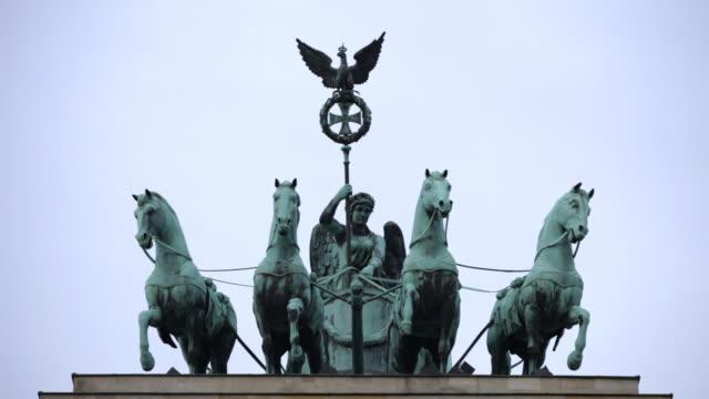 Brandenburg Gate, Berlin, three close-up shots of quadriga statue