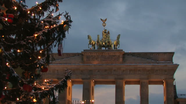 Brandenburg Gate with a christmas tree - wintertime