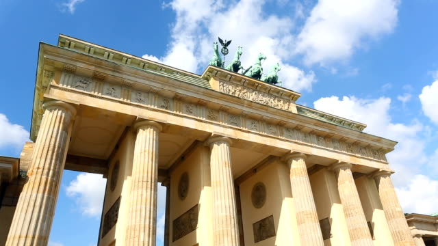 Brandenburg Gate with clouds, time lapse