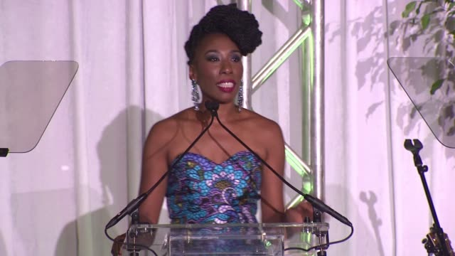 brandi harvey says her family is thankful for the audience's generosity, tells a story of a foundation beneficiary at the 2015 steve & marjorie... - beneficiary stock videos & royalty-free footage