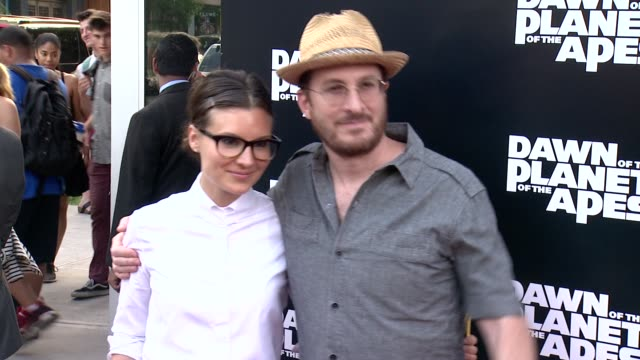 brandi milbradt and darren aronofsky at dawn of the planet of the apes screening at williamsburg cinemas on july 08 2014 in new york city - darren aronofsky stock videos and b-roll footage