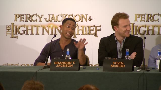 brandon t jackson on how much he knows about greek mythology on how much they've had to brush up on how happy he is that it teaches children about... - greek mythology stock videos and b-roll footage