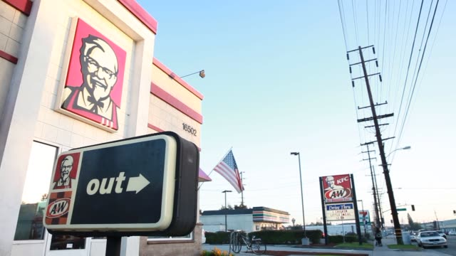 kfc yum brands locations in torrance calif united states on wednesday jan 29 exterior wideshots of a kfc restaurant location in torrance california... - torrance stock videos & royalty-free footage