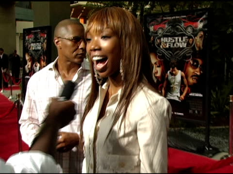 brandy interviewed by the press at the 'hustle and flow' los angeles premiere at the cinerama dome at arclight cinemas in hollywood california on... - arclight cinemas hollywood stock videos and b-roll footage