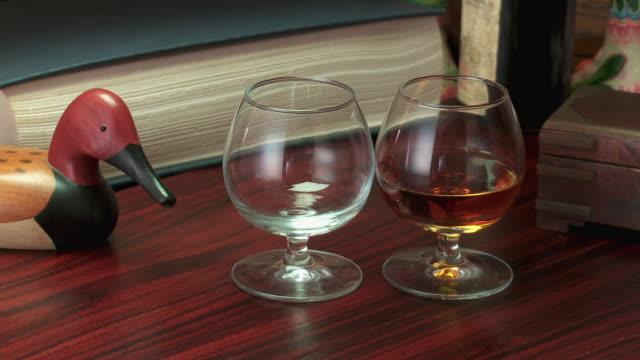 cu brandy pouring in glasses - rappresentazione di animale video stock e b–roll