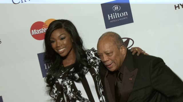 brandy, quincy jones at pre-grammy gala & salute to industry icons with clive davis honoring antonio l.a. reid 2/9/2013 in beverly hills, ca. - quincy jones stock-videos und b-roll-filmmaterial