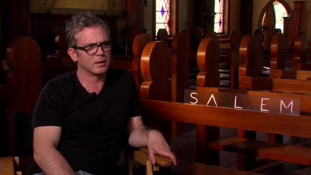 interview brannon braga on the horror of witches shooting in shreveport and his fascination with this era salem louisiana press junket on march 31... - salem stock videos & royalty-free footage