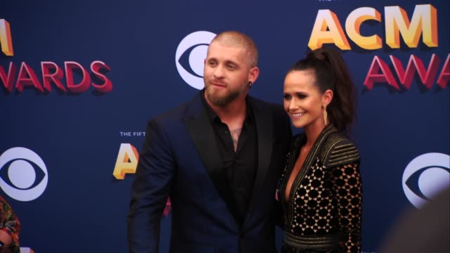 brantley gilbert and amber cochran at the 53rd academy of country music awards at mgm grand garden arena on april 15 2018 in las vegas nevada - academy of country music awards stock videos & royalty-free footage