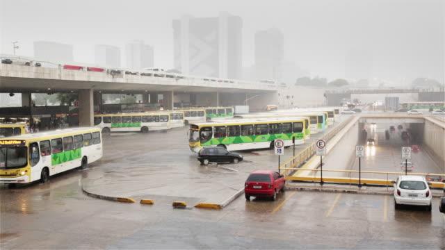 MS Brasilia bus station (Rodoviaria) in heavy rain / Brasilia, Brazil