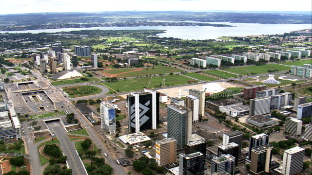 brasilia in general views  - aerial view - federal district, brasília, brazil - brasilia stock videos and b-roll footage