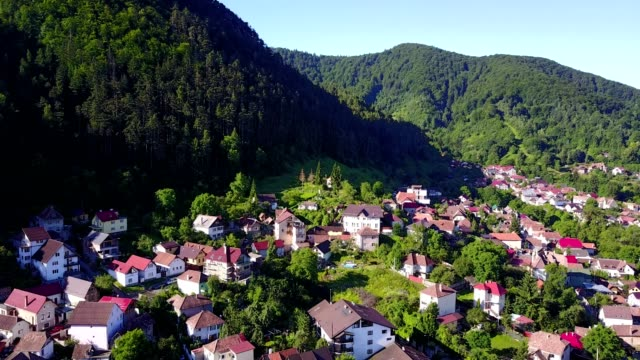 brasov flight towards juni chapel - transilvania video stock e b–roll