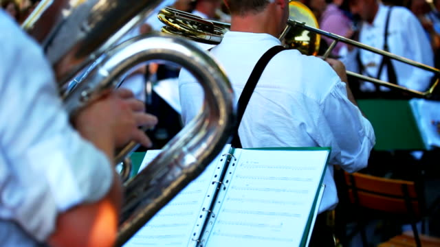 brass band in open air concert closeup - marching band stock videos & royalty-free footage