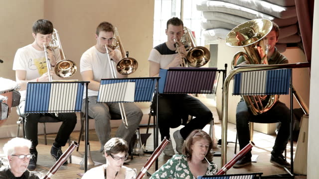 brass section of orchestra - trombone stock videos & royalty-free footage