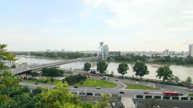 bratislava car traffic - river danube stock videos & royalty-free footage