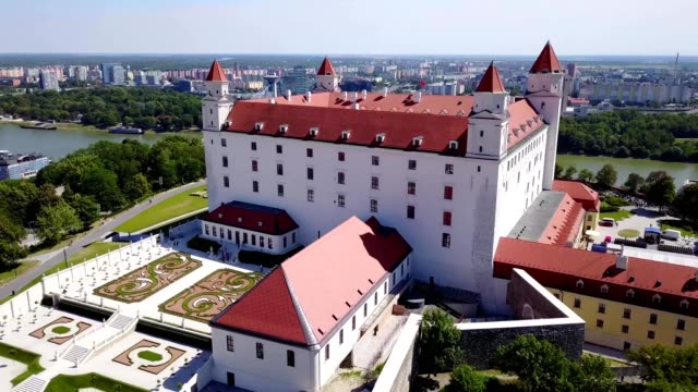 bratislava castle with the danube river and the city in the background - slovakia stock videos & royalty-free footage