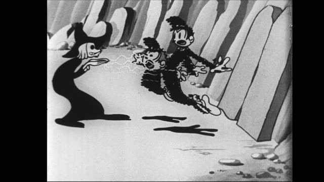 vídeos de stock, filmes e b-roll de brave tom and jerry try to arrest witch man as he throws them around with spells - zapear
