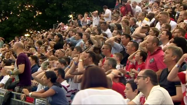 england beaten by uruguay england manchester england fans reacting to rooney missed chance various shots of england fans - missed chance stock videos & royalty-free footage